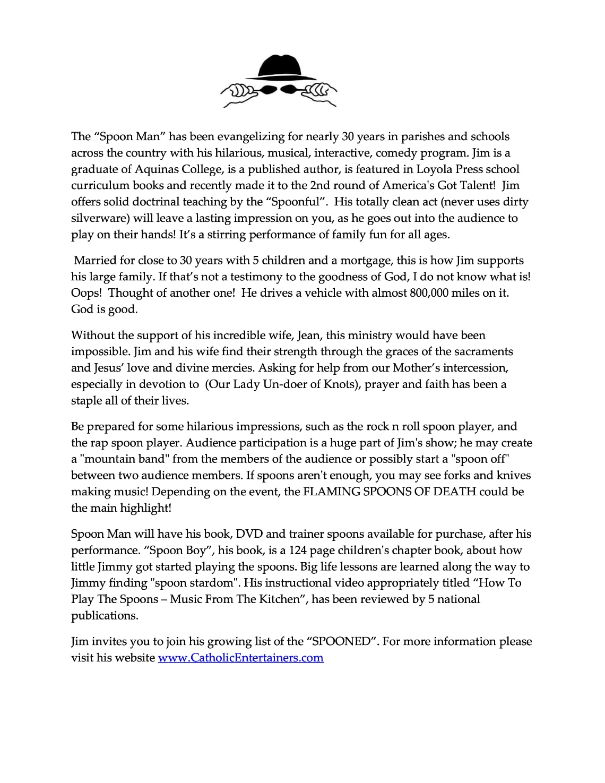 Spoonman Catholic Conference Bio